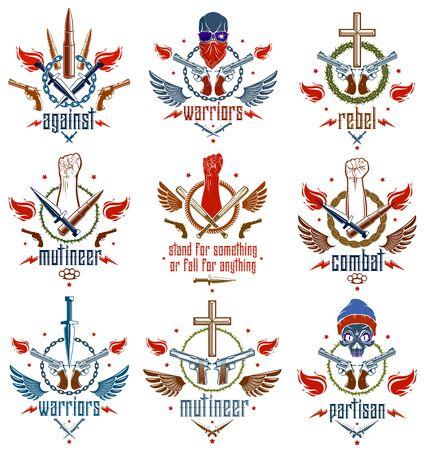Revolution und Riot aggressives Emblem oder Logo mit starker geballter Faust, aggressivem Schädel, Kugeln und Waffen, Waffen und verschiedenen Designelementen, Vektortattoo, Rebell und Revolutionär.