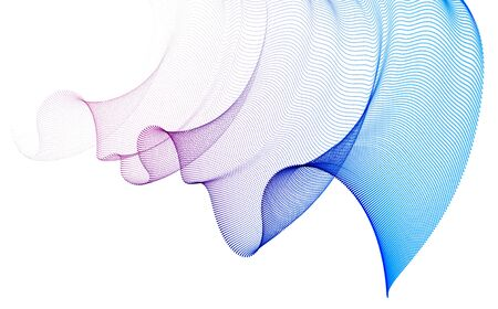 Flowing particles wave, transparent tulle textile on wind, dynamic motion curve lines. 3d vector illustration. Beautiful calming wave shaped array of blended points.