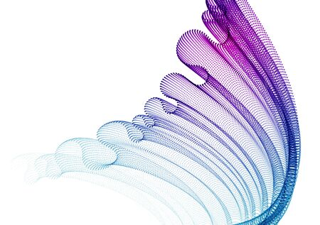 Dynamic particles sound wave flowing, transparent tulle textile on wind. Dotted curves vector abstract background. Beautiful 3d wave shaped array of blended points.