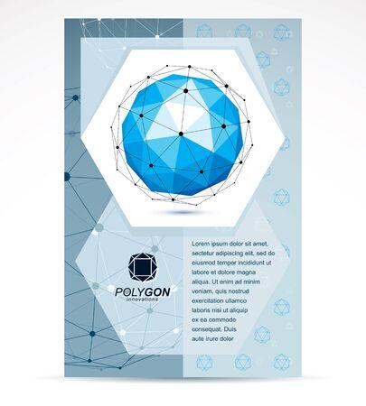 Internet technologies corporation business promotion idea. Abstract vector geometric form, 3d blue shape.