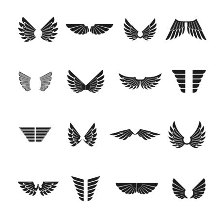 Freedom Wings emblems set. Heraldic Coat of Arms decorative icons isolated vector illustrations collection. Ilustração