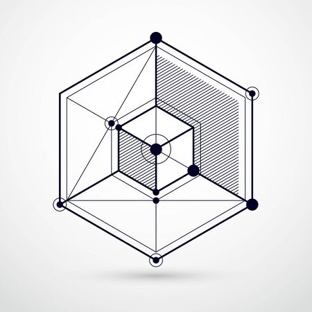 Isometric abstract black and white background with linear dimensional cube shapes, vector 3d mesh elements. Layout of cubes, hexagons, squares, rectangles and different abstract elements. Imagens - 128364216