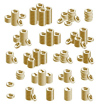 Coin stack cash money or casino chips still-life, vector icon set, illustration, revenue or taxes concept, pile of cents.