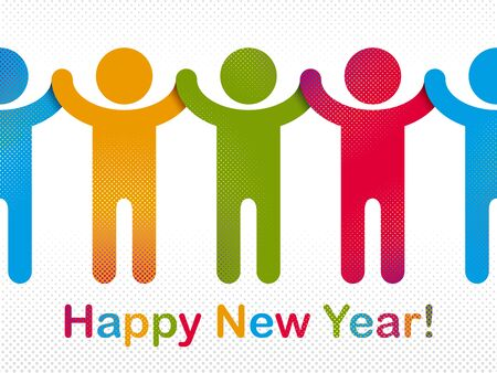 Happy New Year celebrating people vector concept simple illustration icon or greeting card, celebration anniversary or holiday fun, group of cheerful happy people having fun at party. Ilustração