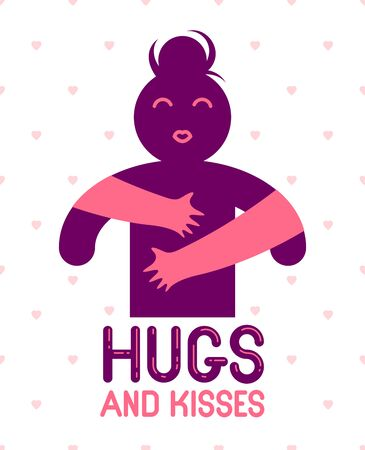 Hugs and kisses with loving hands of beloved person and kissing lips, lover woman hugging her mate and shares love, vector icon or illustration in simplistic symbolic style. Banque d'images - 128364316