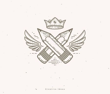 Two crossed pencils with wings and crown, vector simple trendy icon for designer or studio, creative king, royal design, linear style. Imagens - 128364315