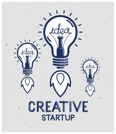 Three idea light bulbs launching like a rockets vector linear poster, creative idea startup, science invention or research lightbulb, new business start.