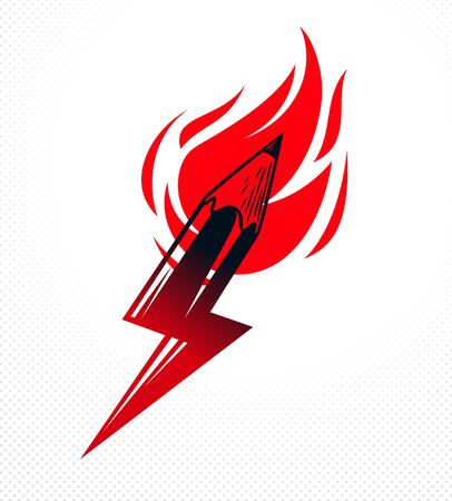 Creative energy power concept shown by pencil in a shape of lightning bolt with fire flame, vector icon, the power of idea, design and art, science invention or research. Imagens - 128364320