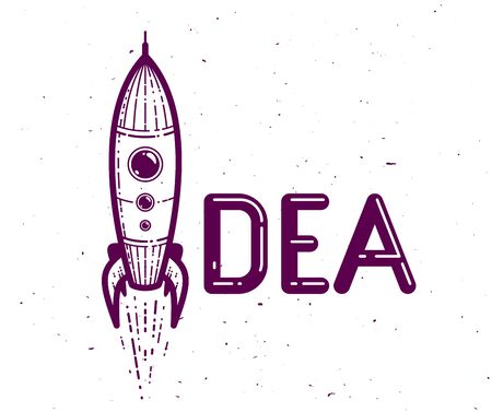 Idea word with rocket instead of letter I, creativity and brainstorm concept, vector conceptual creative or poster made with special font. Ilustração
