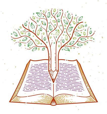 Tree combined with pencil over open vintage book education or science knowledge concept, educational or scientific literature library vector or emblem. Imagens - 128364322