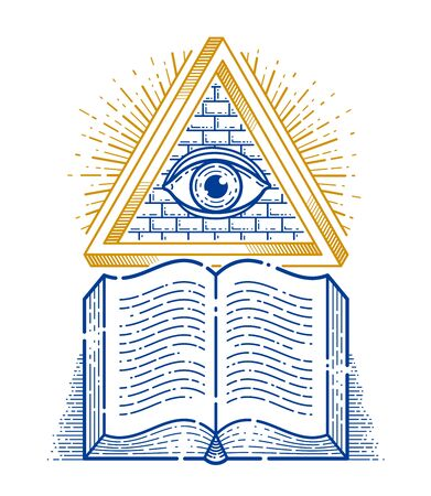 Secret knowledge vintage open book with all seeing eye of god in sacred geometry triangle, insight and enlightenment, masonry or illuminati symbol, vector or emblem design element. Imagens - 128364324