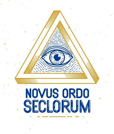 All seeing eye of god in sacred geometry triangle, masonry and Illuminati symbol, vector or emblem design element.