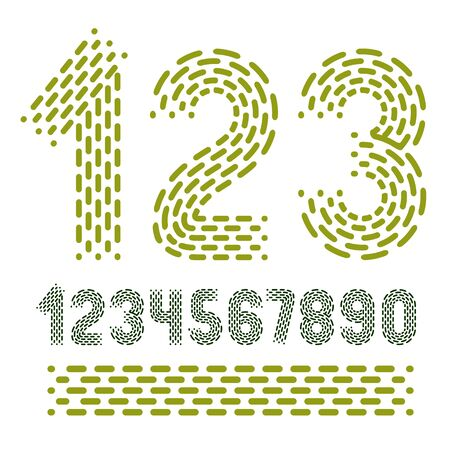 Vector numbers, modern numerals set. Rounded bold retro numeration from 0 to 9 can be used for icon creation. Made using rhythmic strokes and dashed lines. Imagens - 128364325