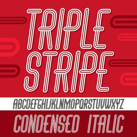 Vector capital modern alphabet letters set. Trendy italic condensed font, script from a to z can be used in art  poster creation. Made with triple stripy decoration.