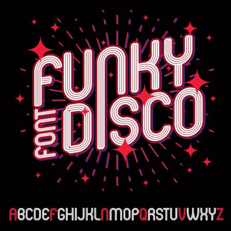 Vector funky upper case English alphabet letters collection, can be used in poster art creation for discotheque of 70s and 80s