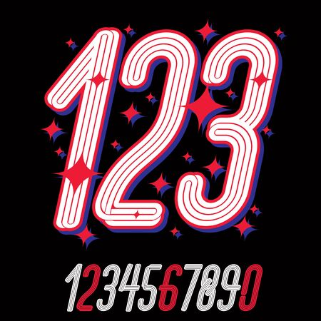 Vector artistic funky elegant tall italic numbers, modern numerals set made with triple stripes. Can be used for icon creation in entertainment business. Imagens - 128364326