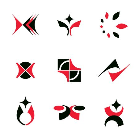 Set of vector abstract colorful geometric shapes. Business identity abstract logos or symbols. Ilustração