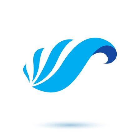 Ocean wave splash vector symbol for use in mineral water advertising. Human and nature harmony concept. Ilustração