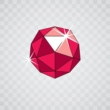 Vector glossy red ruby symbol. Luxury diamond icon, illustration. Çizim
