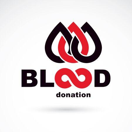 Blood donation concept vector graphic illustration isolated on white. Hematology theme emblem. The 14 June, world blood donor day. Ilustração