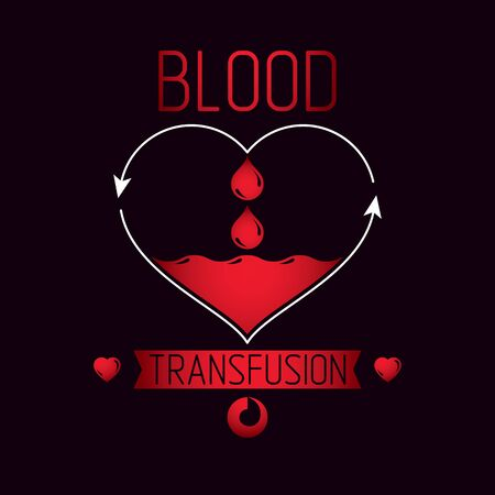 Blood transfusion vector symbol created with red heart shape with arrows and blood drops. Volunteer donorship, healthcare and medical treatment conceptual design. Imagens - 128364415