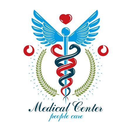 Aesculapius vector abstract business design for use in medical treatment. Cardiovascular system diseases prevention conceptual emblem.