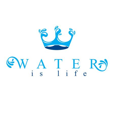 Pure water vector abstract design created in the shape of royal crown. Business emblem best for use in mineral water advertising. Imagens - 128364434