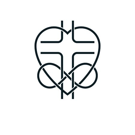 Immortal Love of God conceptual symbol combined with infinity loop sign and Christian Cross with heart, vector creative design.
