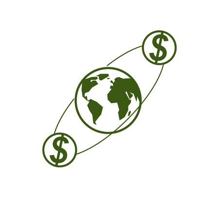 Global Business creative design, unique vector symbol created with different elements. Global Financial System. World Economy. Imagens - 128364432