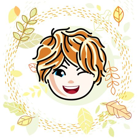 Vector illustration of beautiful red-haired happy girl face, positive face features, teenager winking. Autumn theme clipart. 向量圖像