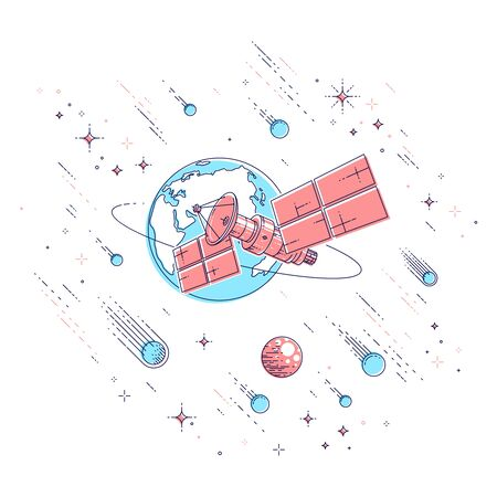 Communication satellite flying orbital spaceflight around earth, spacecraft space station with solar panels and satellite antenna plate, under meteor rain and stars. Vector.