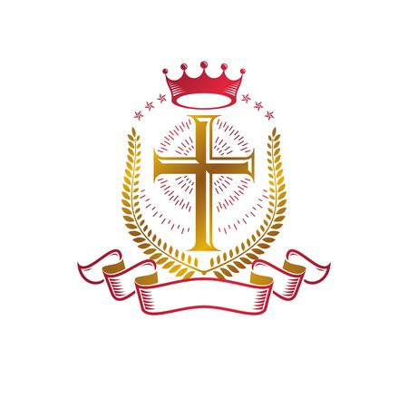 Christian Cross golden emblem created with royal crown, laurel wreath and luxury ribbon. Heraldic Coat of Arms decorative design isolated vector illustration. Religion and spirituality symbol.