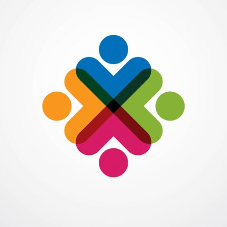 Teamwork and friendship concept created with simple geometric elements as a people crew. Vector icon or design. Unity and collaboration idea, dream team of business people colorful design. Imagens - 128364545