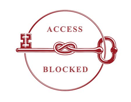 Access Denied, Knotted key allegorical symbol, vintage antique turnkey in a knot, blocked account, personal data protection, hacker and fraud attack