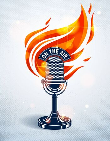 Vintage microphone on fire, hot mic in flames, studio recording music, on the air typing, vector illustration, live radio translation, standup comedy, t-shirt print. Imagens - 128364553