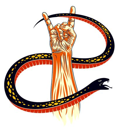 Rock hand sign with aggressive snake, hot music Rock and Roll gesture and serpent, Hard Rock festival concert or club, vector label emblem, musical instruments shop or recording studio.