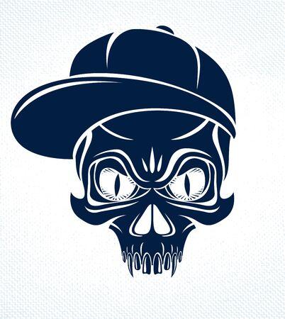 Gangster skull vector, icon or tattoo, urban stylish aggressive criminal scull. Imagens - 128364554