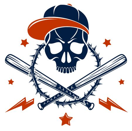 Gangster emblem tattoo with aggressive skull baseball bats and other weapons and design elements, vector, criminal ghetto vintage style, gangster anarchy or mafia theme. Illustration