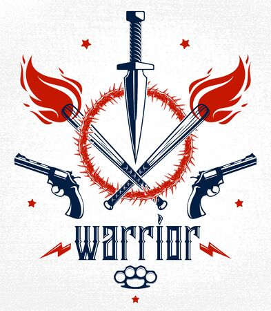 Dagger knife and other weapons  vector emblem of Revolution and War, tattoo with lots of design elements, anarchy and chaos concept, criminal and gangster style, social tension theme. Imagens - 128364555
