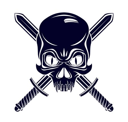 Jolly Roger dead head aggressive skull, Pirates vector emblem with weapons, vintage style or tattoo. Imagens - 128364558