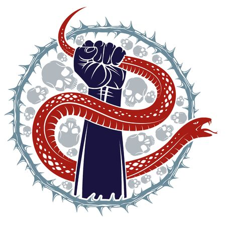 Hand squeezes a snake, fight against evil devil and Satan, control your inner beast animal, archetype shadow, life is a fight concept, vintage vector or tattoo.