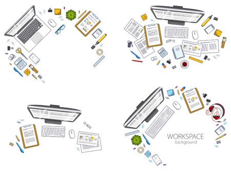 Office desks workspaces top view with PC and laptops  and diverse stationery objects for work, overhead look. All elements are easy to use separately or recompose the illustrations. Vector set. Imagens - 128364560