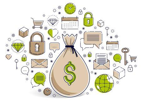 Money bag and icon set vector design, savings or investments concept, online payments, marketplace or shop. Ilustração