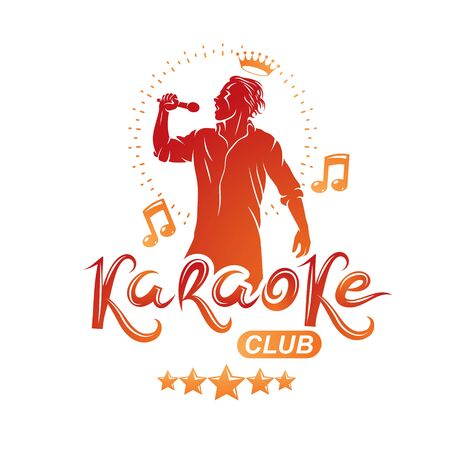 Karaoke club flyers vector cover design created using musical notes, stars and soloist singing to microphone. Emcee show advertising poster Imagens - 128364586