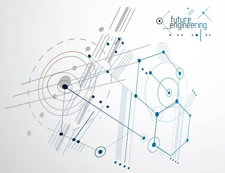 Mechanical scheme, vector engineering drawing with circles and hexagons. Technical plan can be used in web design and as wallpaper or background. Imagens - 128364581