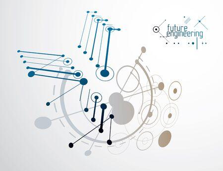 Vector de fondo industrial y de ingeniería, plan técnico futuro. Modelo abstracto del mecanismo, esquema mecánico. Ilustración de vector