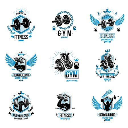 Set of vector bodybuilding theme emblems and advertising posters composed using dumbbells, barbells, kettle bells sport equipment and athlete perfect shapes.