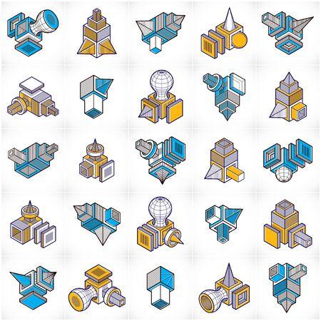 Engineering abstract shape, vectors set.