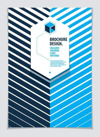 Minimalistic brochure design. Vector geometric pattern abstract background. Design template for flyer, booklet, greeting card, invitation and advertising. A4 print format. Ilustração