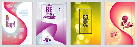 Birthday greeting card vector design. Includes lettering composition and balloons combined with wavy fluid colorful shape abstract backgrounds collection. A4 format with CMYK colors acceptable for print. Imagens - 128364592